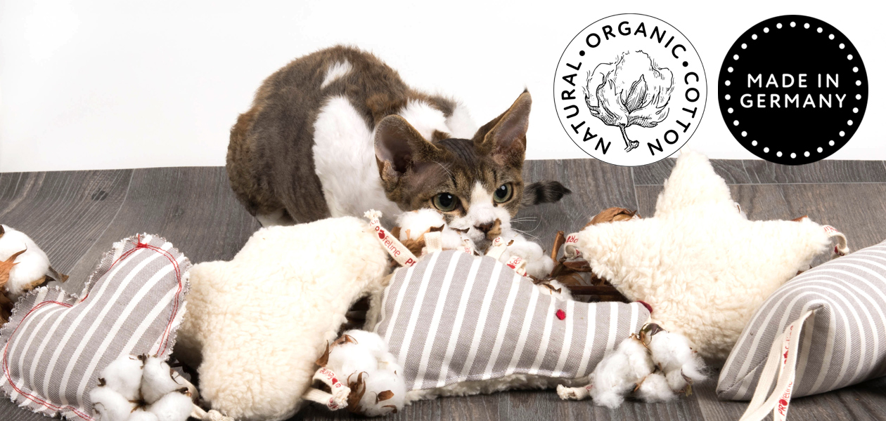 Katzenspielzeug aus Bio Baumwolle - mit Katzenminze und Baldrian