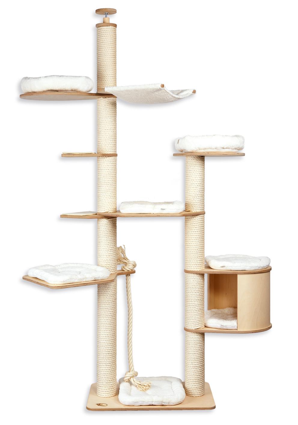 kratzbaum deckenhoch bez ge waschbar kissen weiss. Black Bedroom Furniture Sets. Home Design Ideas